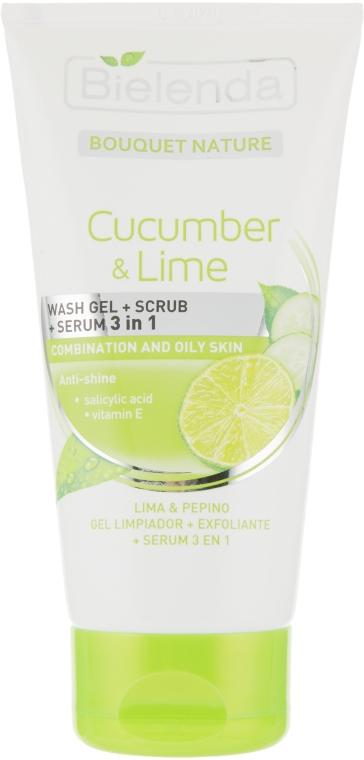 "Гель для умывания + скраб + сыворотка ""Огурец и Лайм"" - Bielenda Bouquet Nature Cucumber & Lime 3in1 Wash Gel + Scrub + Serum"