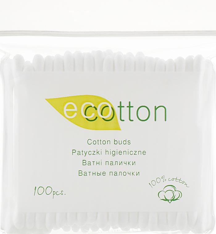 Ватные палочки в полиэтиленовой упаковке, 100шт - Ecotton Cotton Buds