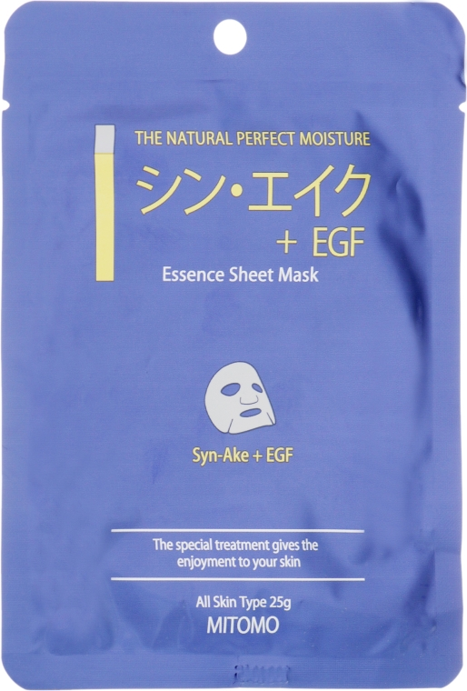 "Тканевая маска для лица ""Пептиды змеи + EGF"" - Mitomo Essence Sheet Mask Syn-Ake + EGF"