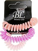 Духи, Парфюмерия, косметика Набор резинок для волос, 405004, бледно-розовая+сиреневая+персиковая - Beauty Line