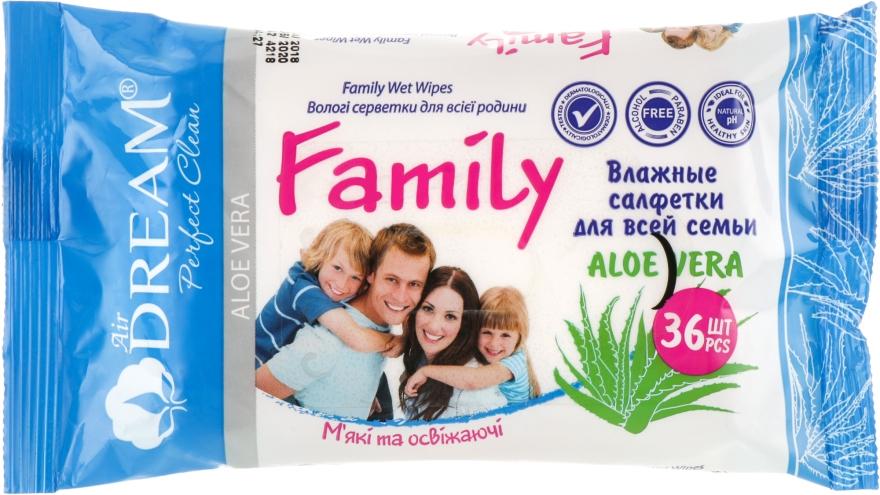 Влажные салфетки для всей семьи, 36 шт. - Air Dream Family Aloe Vera