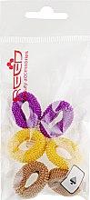 Духи, Парфюмерия, косметика Набор резинок для волос, 7578, 6 шт., фиолетовый + желтый + светло-оливковый - Reed