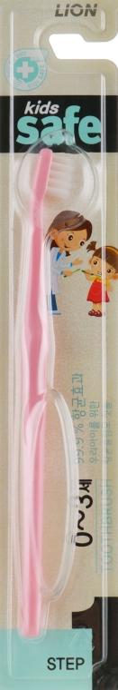 Зубная щетка детская с нано-серебряным покрытием от 0 до 3-х лет, розовая - CJ Lion Kids Safe