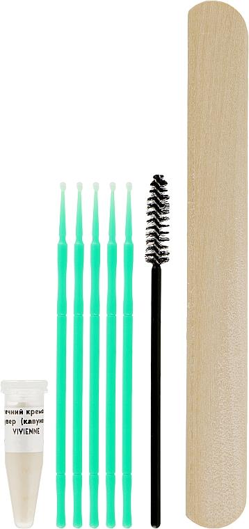Мини-набор для снятия ресниц в домашних условиях - Vivienne Lashes And More (cr/remover/2g + eyelash/microbrush/5pcs + wooden/spatula/1pcs + eyelash/brush/1pcs)