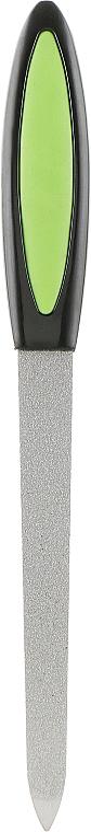 Пилка для ногтей металлическая с резиновой ручкой, 13.5 см, черно-салатовая - Zauber