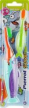 """Духи, Парфюмерия, косметика Детская зубная щетка """"Акула №2"""", оранжевая+салатовая, бирюзово-фиолетовая - Pierrot Kids Sharky Soft"""