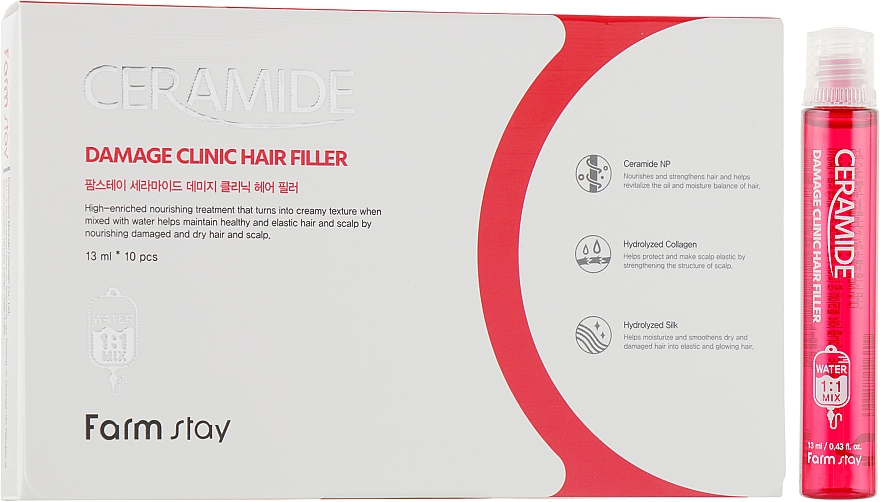 Увлажняющий филлер с керамидами для волос - FarmStay Ceramide Damage Clinic Hair Filler