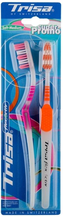"""Набор зубных щеток """"Флекс Актив"""", средней мягкости, розовая + оранжевая - Trisa Flex Activ Soft-Medium"""