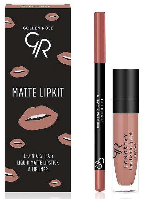 Набор для губ - Golden Rose Matte LipKit Warm Nude (lipstick/5.5 ml + lipliner/1.4g)
