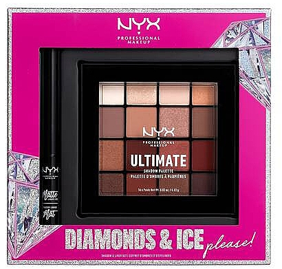Набор - NYX Professional Makeup Diamonds & Ice Please Shadow & Liner Set (sh/palette/16x1.18g+liner/2ml)
