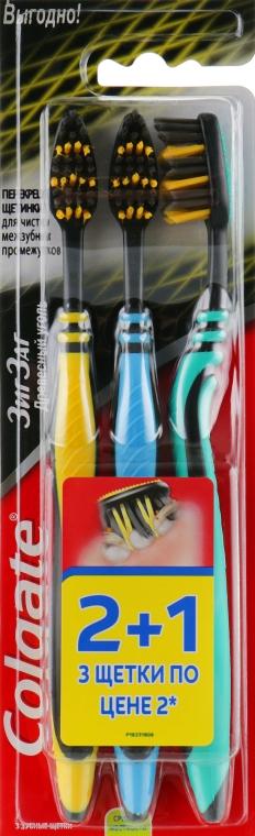 """Зубная щетка """"ЗигЗаг. Древесный уголь"""" средняя, желтая+голубая+бирюзовая - Colgate"""