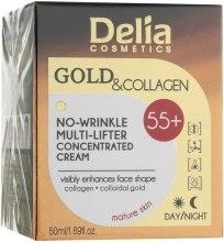 Духи, Парфюмерия, косметика Крем-концентрат против морщин 55+ - Delia Gold&Collagen No-Wrinkle Multi-Lifter Concentrated Cream 55+