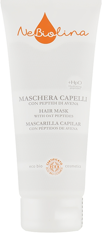 Маска для волос с овсяными пептидами - Nebiolina Hair Mask with Oat Peptides