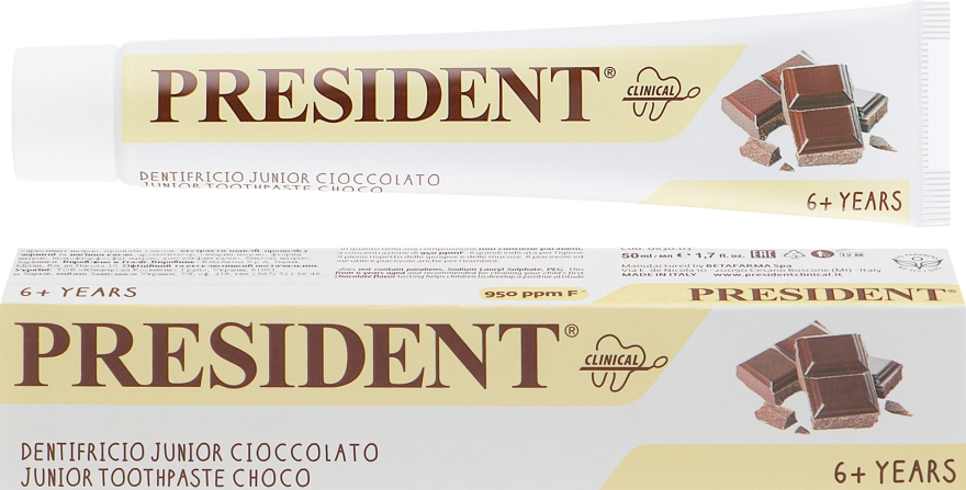 "Детская зубная паста ""Clinical Junior"", шоколад - PresiDENT Junior Toothpaste Choco"