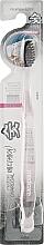Духи, Парфюмерия, косметика Зубная щетка с древесным углем и двухуровневой щетиной, розовая - White Charcoal Toothbrush