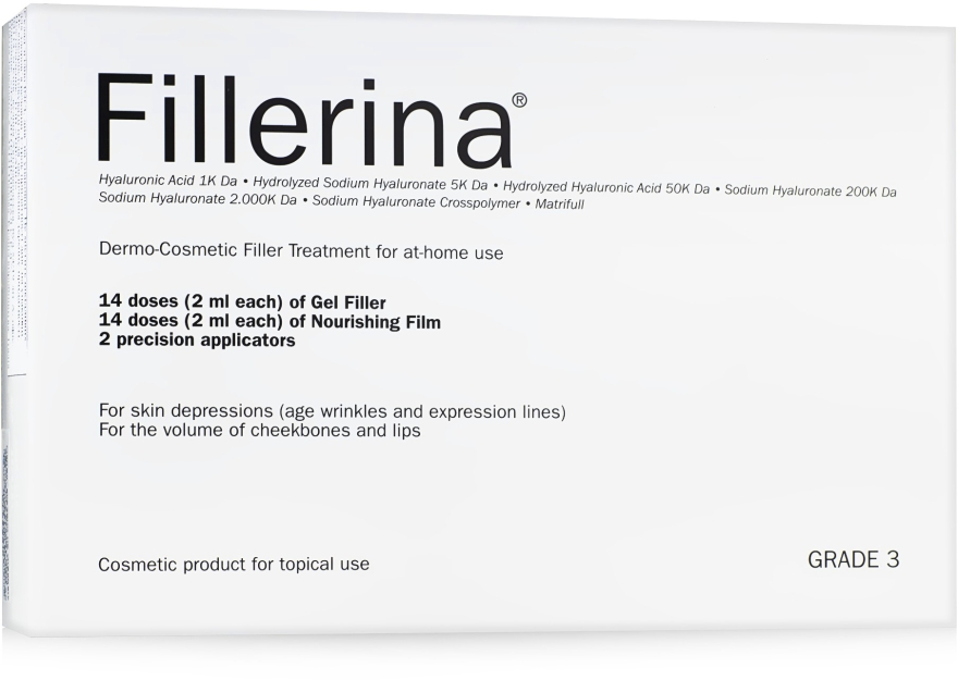 Дермато-косметическая система, уровень 3 - Fillerina Dermo-Cosmetic Filler Treatment Grade 3 (gel/30ml + cr/30ml + applicator/2шт)
