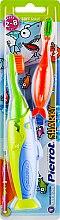 """Духи, Парфюмерия, косметика Детская зубная щетка """"Акула №2"""", салатовая+оранжевая, салатово-синяя - Pierrot Kids Sharky Soft"""