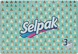 Духи, Парфюмерия, косметика Гигиенические салфетки трехслойные, бирюзовая упаковка с треугольниками - Selpak