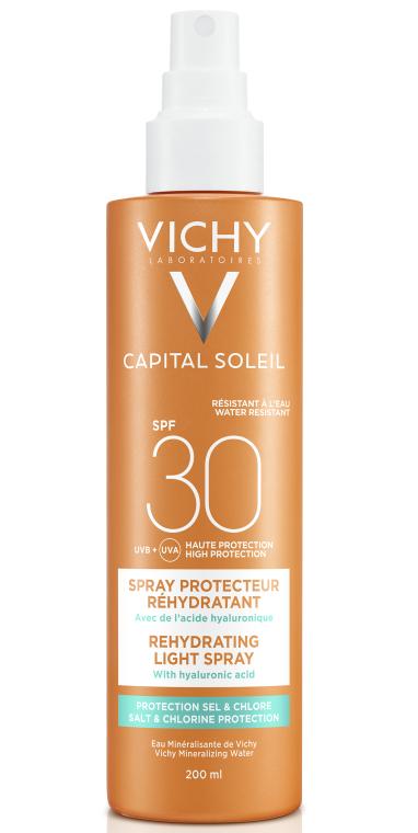 Солнцезащитный водостойкий спрей с гиалуроновой кислотой, SPF 30 - Vichy Capital Soleil Beach Protect Anti-Dehydration Spray SPF 30