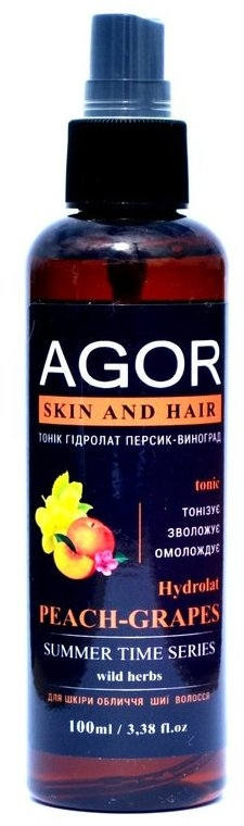 "Тоник ""Гидролат персик-виноград"" - Agor Summer Time Skin And Hair Tonic"