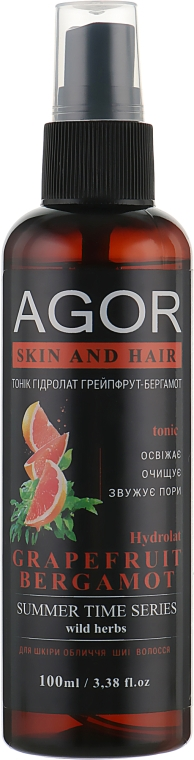 "Тоник ""Гидролат грейпфрут-бергамот"" - Agor Summer Time Skin And Hair Tonic"