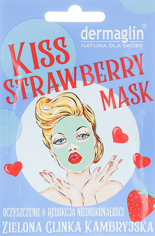Маска для лица - Dermaglin Kiss Strawberry Mask
