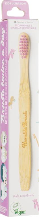 Детская бамбуковая зубная щетка, ультрамягкая, розовая - The Humble Co.