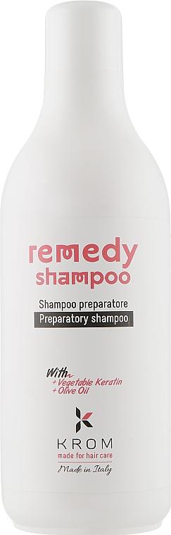 Восстанавливающий шампунь с растительным кератином и маслом оливы - Krom Remedy Shampoo