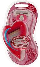 Духи, Парфюмерия, косметика Женский бритвенный станок с тройным лезвием с 1 запасной кассетой - Feather Mermaid Rose Pink