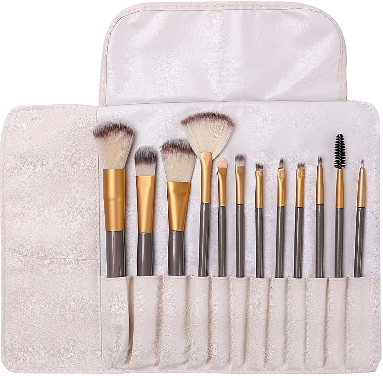 Набор профессиональных кистей для макияжа в футляре, 12 шт - Lewer