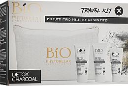 Набор - Phytorelax Laboratories Bio Detox Charcoal (f/gel/40ml + f/milk/40ml + mask/20ml + bag) — фото N1
