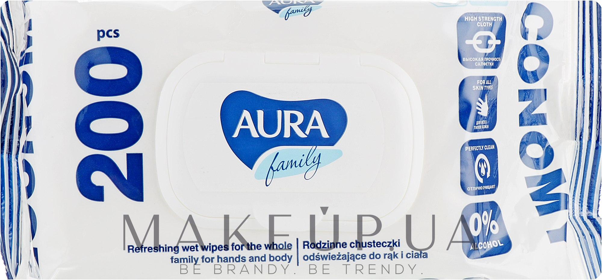 """Влажные салфетки """"Aura Family"""" освежающие, 200шт - Aura — фото 200шт"""