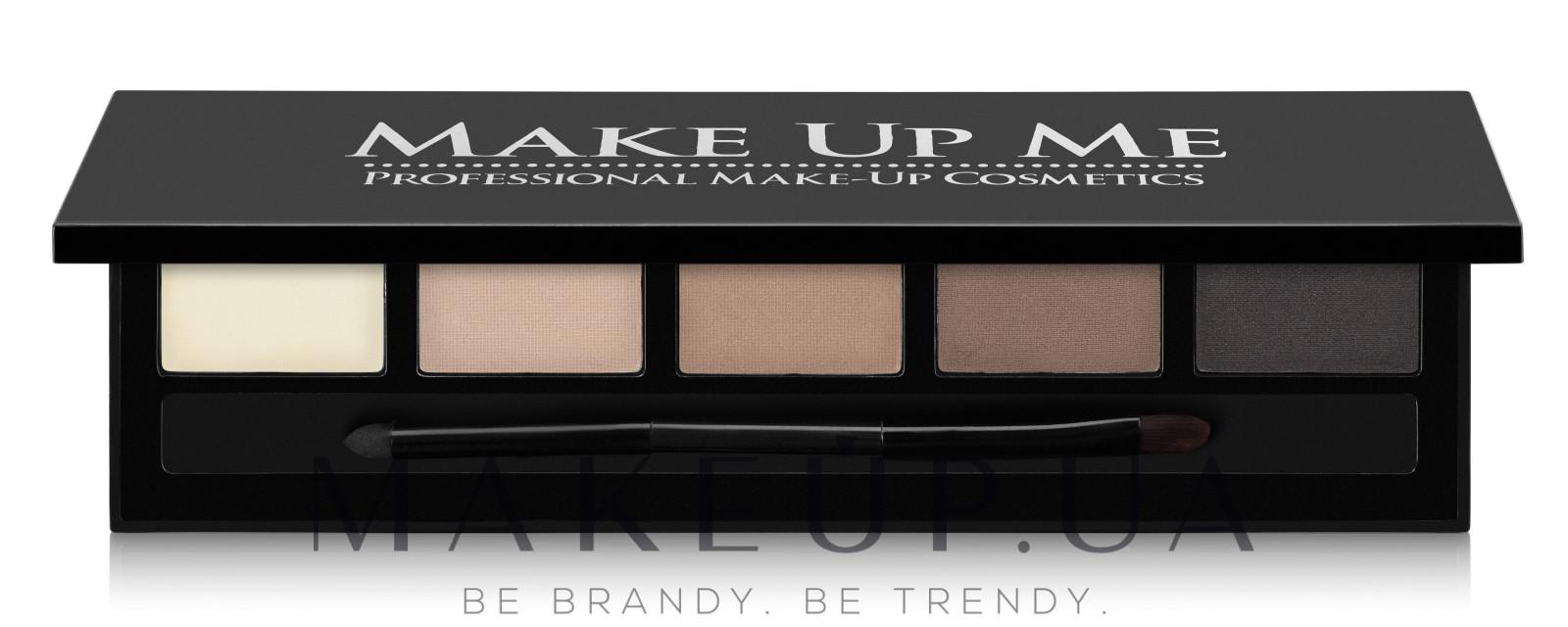Компактный набор пудр для бровей 5 оттенка - Make Up Me 5 Color Eyebrow Powder — фото FB5-1