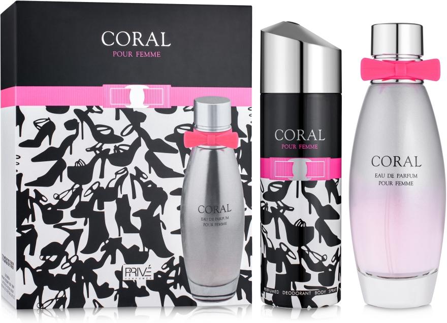 Prive Parfums Coral - Набор (edp/95ml + deo/175ml) — фото N1