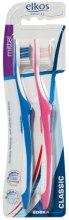 Духи, Парфюмерия, косметика Зубная щетка средней жесткости, синяя+розовая - Elkos Dental Classic