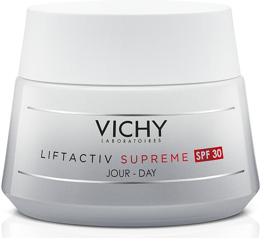 Средство длительного действия: коррекция морщин и упругость кожи, антивозрастной крем с солнцезащитным фактором СПФ30, для всех типов кожи - Vichy Liftactiv Supreme Day Cream SPF30 For All Skin Types