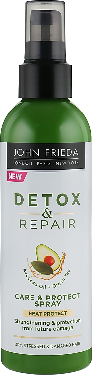 Несмываемый спрей для укрепления волос с термозащитой - John Frieda Detox & Repair Care & Protect Spray