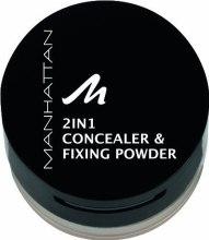 Духи, Парфюмерия, косметика Пудра и корректор для лица - Manhattan 2in1 Concealer & Fixing Powder + Concealer Pinsel