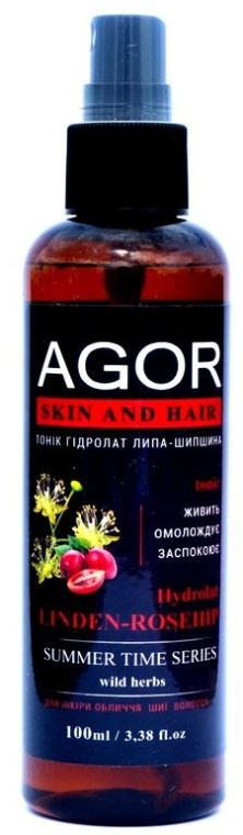 "Тоник ""Гидролат липа-шиповник"" - Agor Summer Time Skin And Hair Tonic"