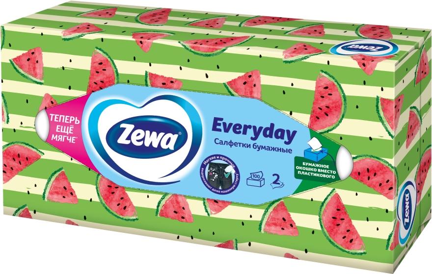 Салфетки косметические двухслойные, арбуз, 100шт - Zewa Everyday