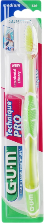 """Зубная щетка """"Technique Pro"""", средней жесткости, салатовая - G.U.M Medium Regular Toothbrush"""