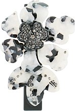 "Духи, Парфюмерия, косметика Заколка-автомат для волос ""Орхидея"", 0807, бело-черная - Элита"