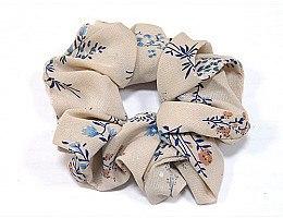 Духи, Парфюмерия, косметика Резинка для волос P0167-2, 11см, светло-бежевая в цветочный принт - Akcent