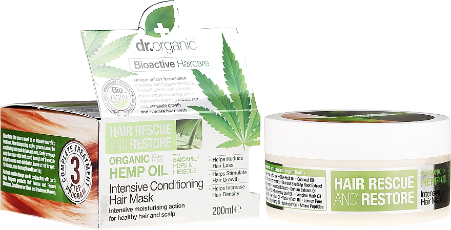 "Маска для волос ""Масло конопли"" - Dr. Organic Bioactive Haircare Hemp Oil Intensive Conditioning Hair Mask"