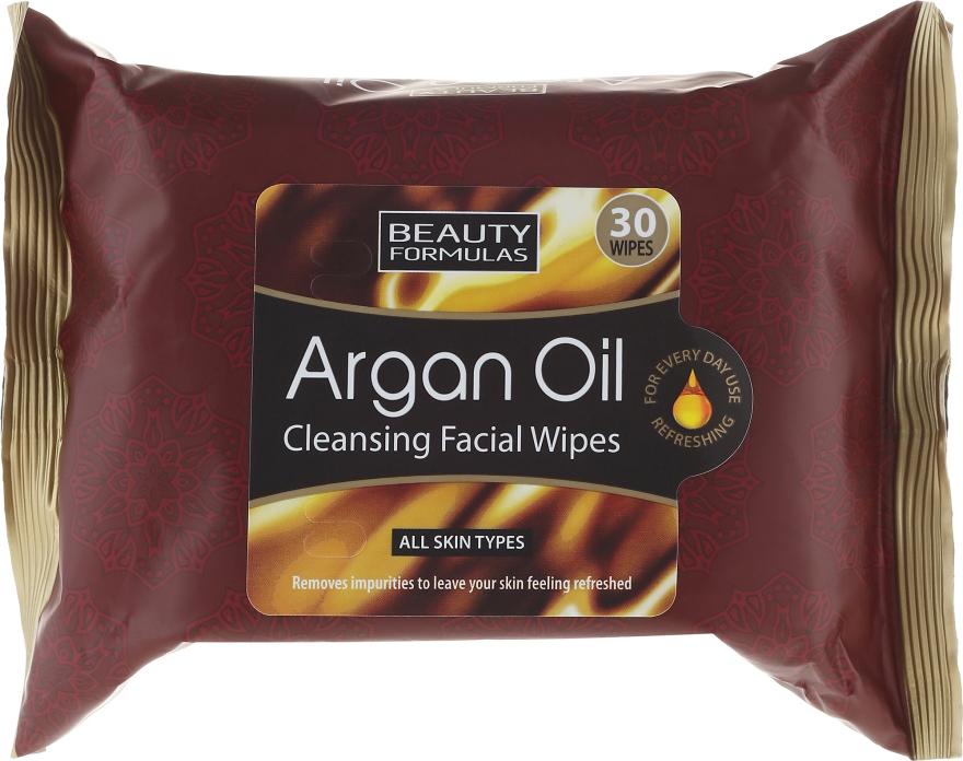 Салфетки для лица, очищающие - Beauty Formulas Argan Oil Cleansing Facial Wipes