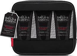 Духи, Парфюмерия, косметика Набор - Baylis & Harding Signature Men's Black Pepper & Ginseng Toiletry Bag (hair/body/wash/100ml+a/sh/balm/100ml+face/wash/100ml+acc)