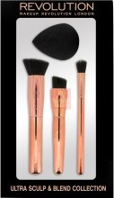 Духи, Парфюмерия, косметика Набор - Makeup Revolution Ultra Sculpt & Blend Collection (brush/3psc + sponge/1psc)