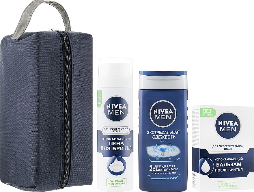 "Набор ""Чувствительная кожа"" - Nivea (foam/200ml + balm/100ml + sh/gel/250ml + bag)"