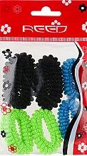 Духи, Парфюмерия, косметика Набор резинок для волос, 7579, 6шт, голубой + салатовый + черный - Reed