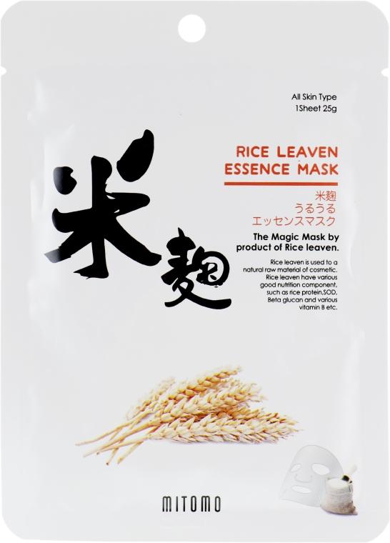 Тканевая маска для лица с экстрактом рисовых отрубей - Mitomo Rice Leaven Essence Mask — фото N1